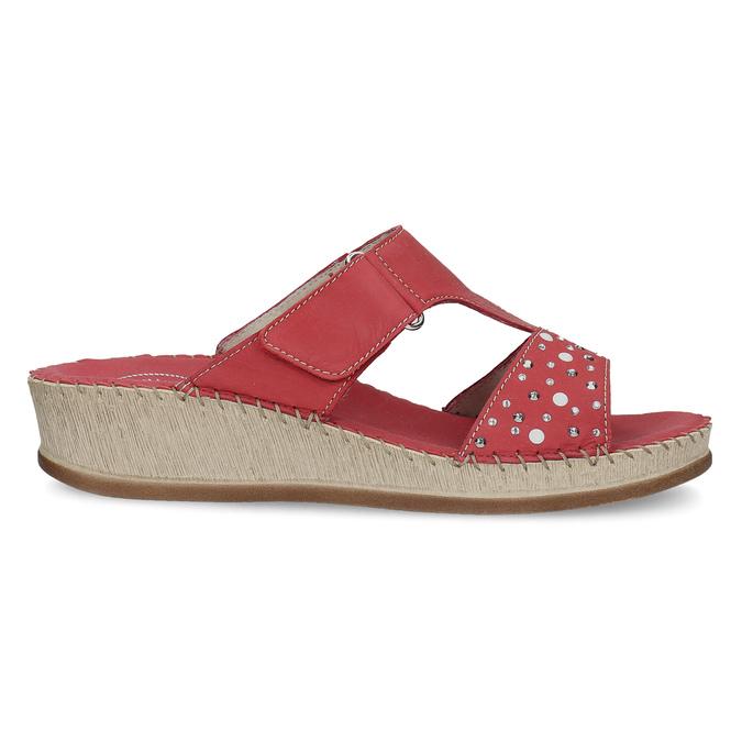 Červené kožené nazouváky na klínku s kamínky comfit, červená, 574-5438 - 19