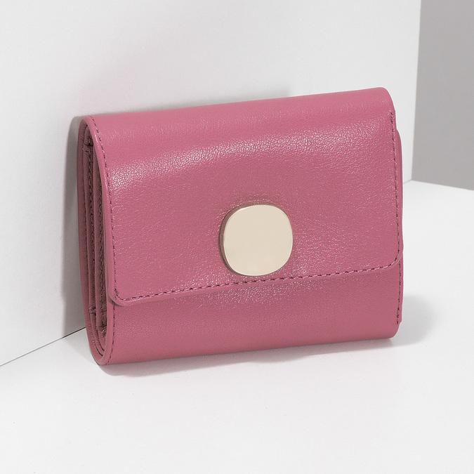 Růžová kožená peněženka se zlatým zapínáním vagabond, růžová, 966-5063 - 17