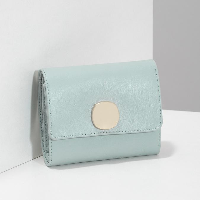 Modrá kožená peněženka se zlatým zapínáním vagabond, modrá, 966-9063 - 17