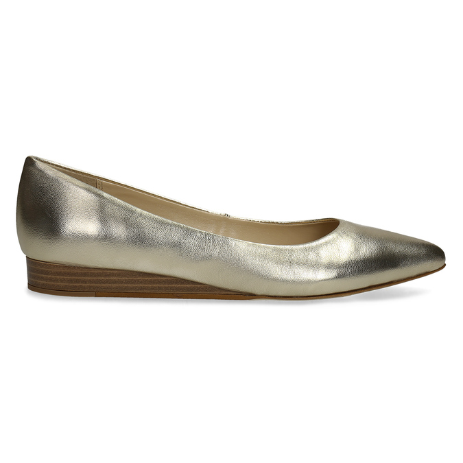 Zlaté kožené baleríny do špičky bata, 526-8242 - 19