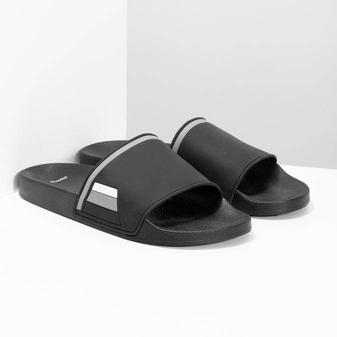Jednoduché černé pánské nazouváky bata, černá, 861-6602 - 26