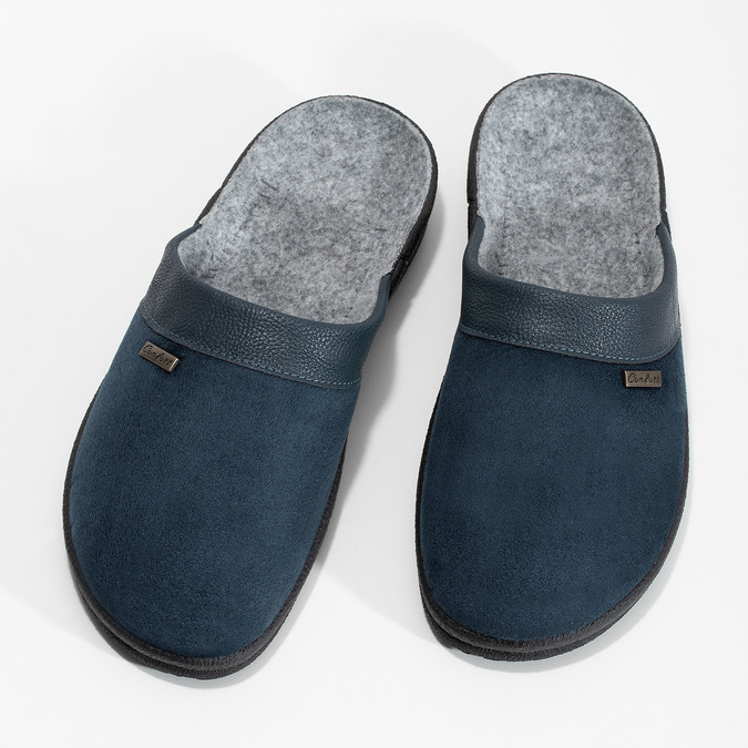 Pánská domácí obuv bata, modrá, 879-9600 - 16