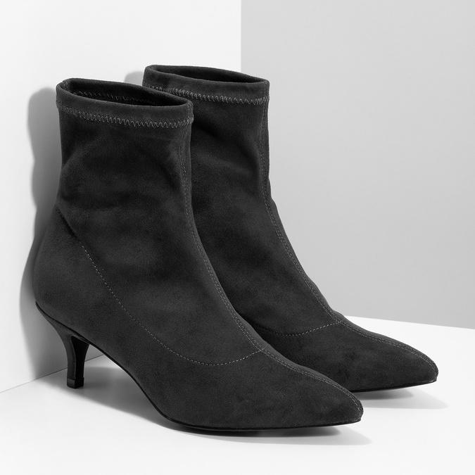 Šedé ponožkové kozačky na Kitten podpatku bata, šedá, 699-2643 - 26