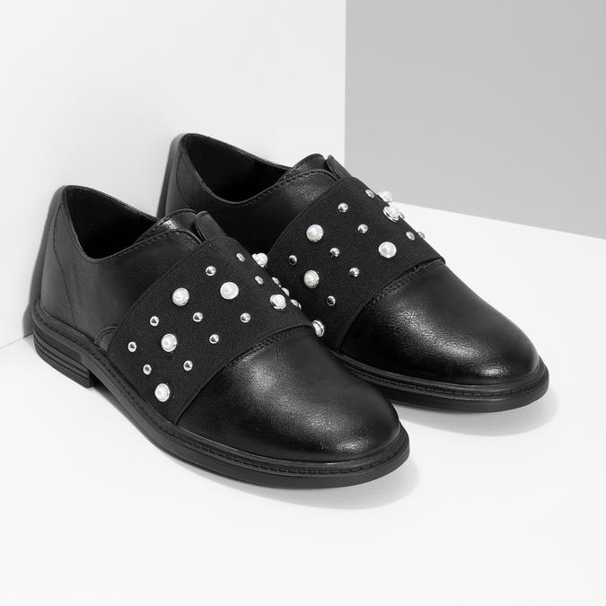 Dívčí polobotky s perličkami mini-b, černá, 321-6379 - 26
