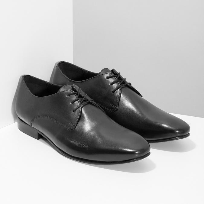 Černé kožené polobotky v Derby střihu bata, černá, 824-6606 - 26