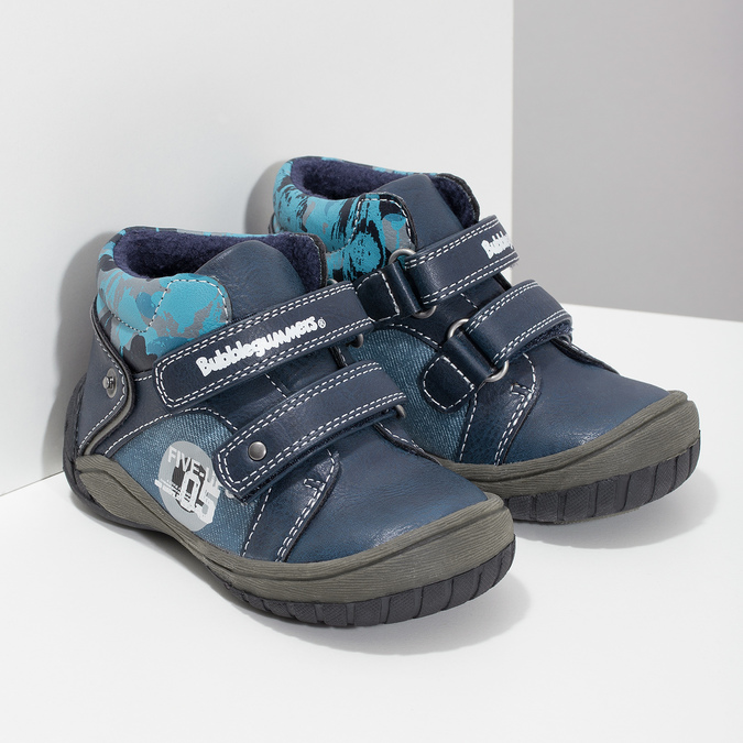 Dětské kotníkové boty na suché zipy modré bubblegummers, modrá, 111-9628 - 26