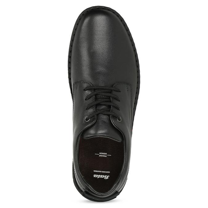 Pánské černé kožené ležérní polobotky bata, černá, 824-6630 - 17