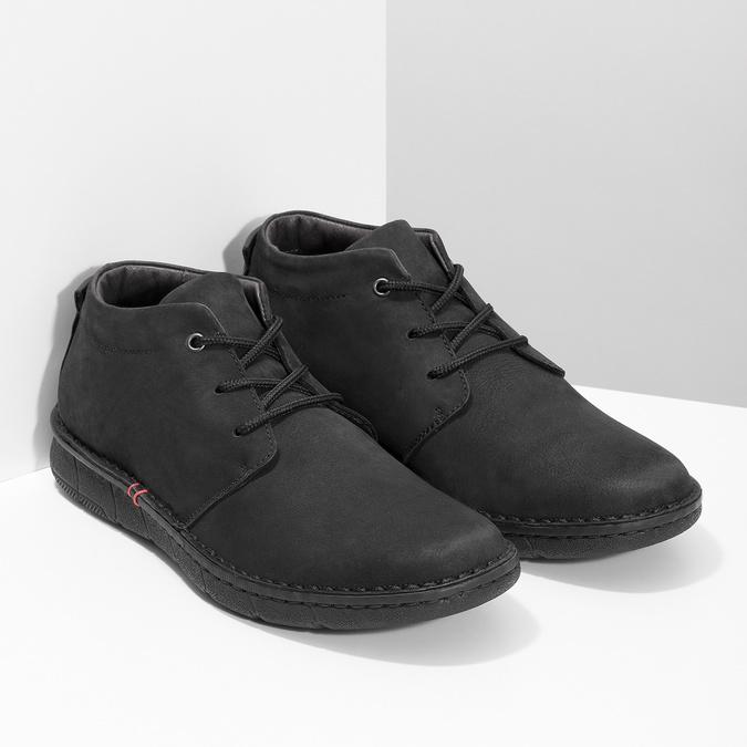 Pánská kotníčková obuv z broušené kůže bata, černá, 846-6716 - 26