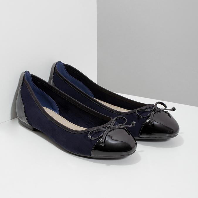 Tmavě modré dámské baleríny s mašličkou bata, modrá, 529-9640 - 26