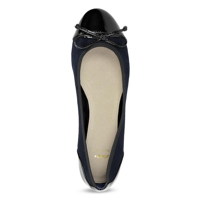Tmavě modré dámské baleríny s mašličkou bata, modrá, 529-9640 - 17