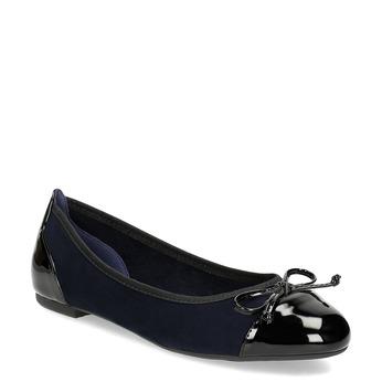Tmavě modré dámské baleríny s mašličkou bata, modrá, 529-9640 - 13