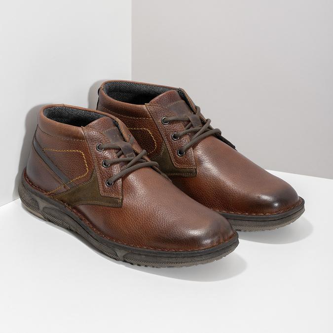 Kožená pánská kotníčková obuv bata, hnědá, 846-4718 - 26