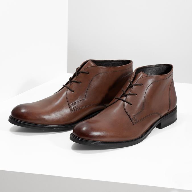 Pánská kožená kotníčková obuv bata, hnědá, 826-3893 - 16