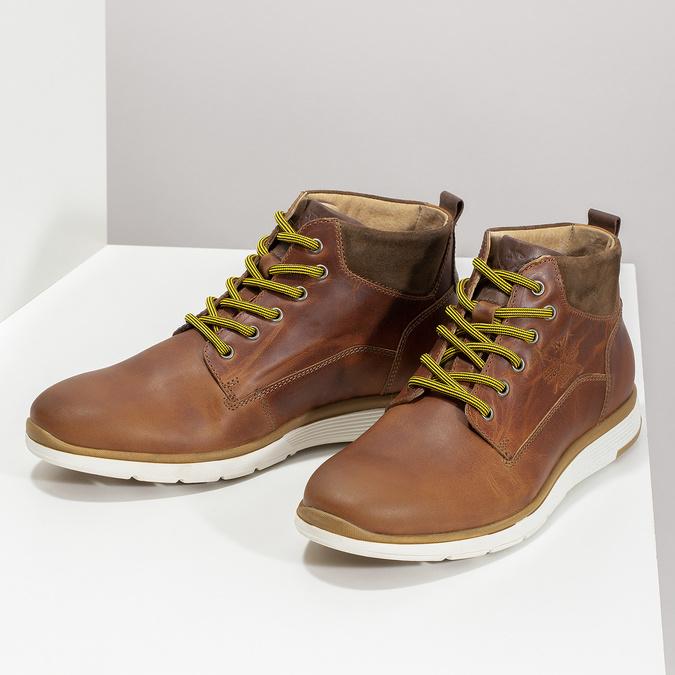 Hnědá kožená pánská kotníčková obuv bata, hnědá, 846-3645 - 16