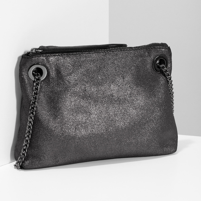 Kožená Crossbody kabelka s řetízkem bata, stříbrná, 964-1602 - 17