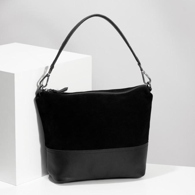 Kožená černá kabelka v Hobo stylu bata, černá, 963-6600 - 17