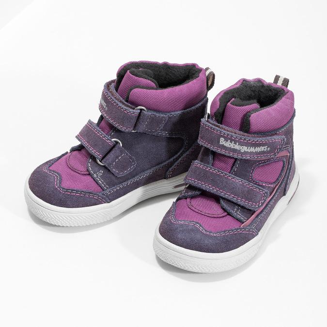 Kotníkové dětské boty s teplou podšívkou bubblegummers, fialová, 123-5610 - 16