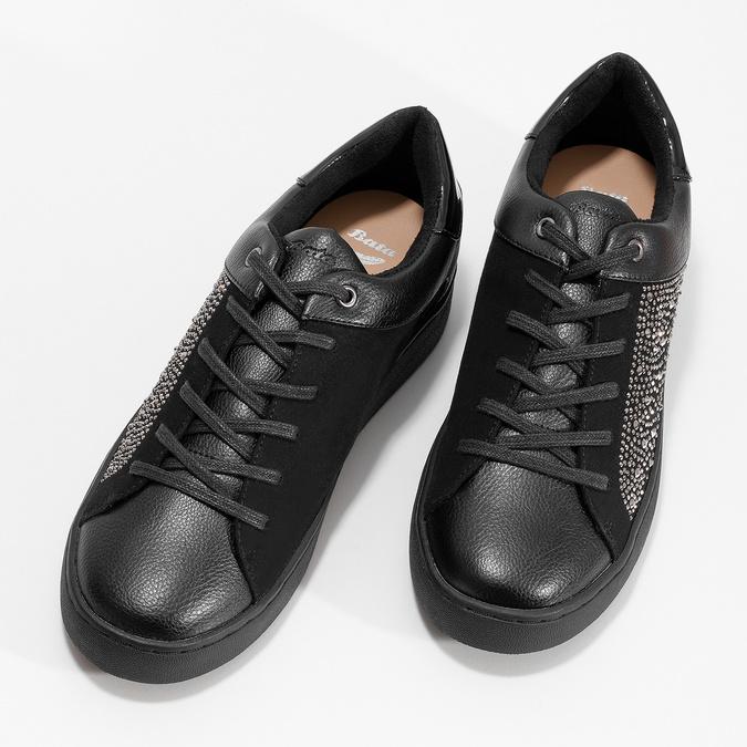 Černé dámské tenisky s kamínky bata-light, černá, 549-6611 - 16