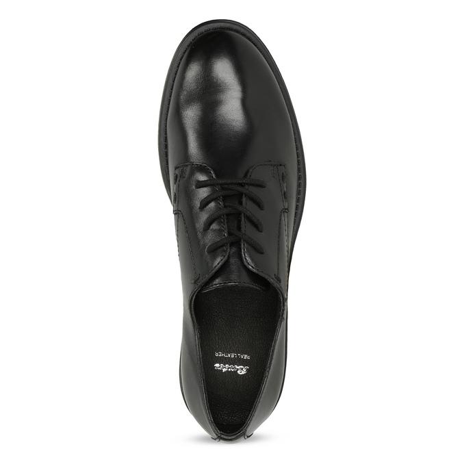 Černé dámské kožené polobotky bata, černá, 524-6666 - 17