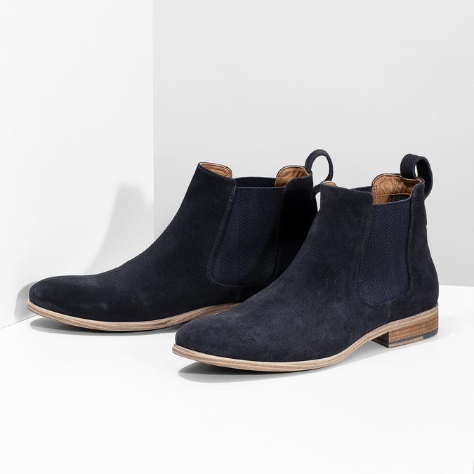 Tmavě modrá kožená pánská Chelsea obuv bata, modrá, 823-9614 - 16