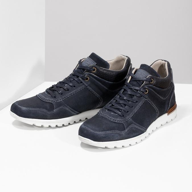 Tmavě modré kožené tenisky bata, modrá, 846-9717 - 16