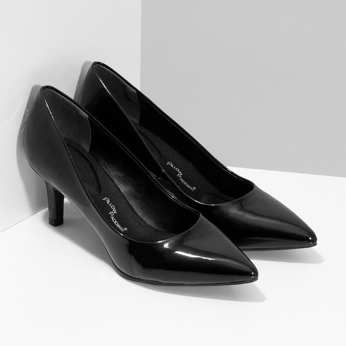 Černé lodičky do špičky lesklé pillow-padding, černá, 621-6648 - 26