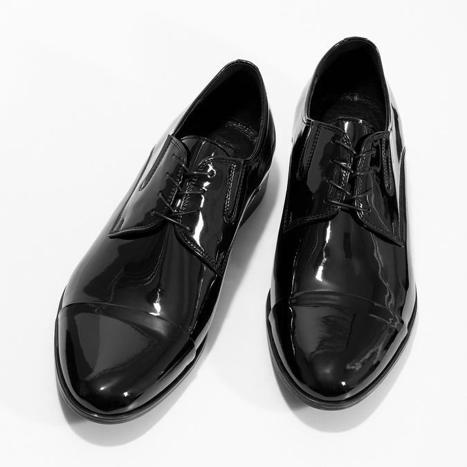 Pánské kožené polobotky černé lesklé conhpol, černá, 828-6609 - 16