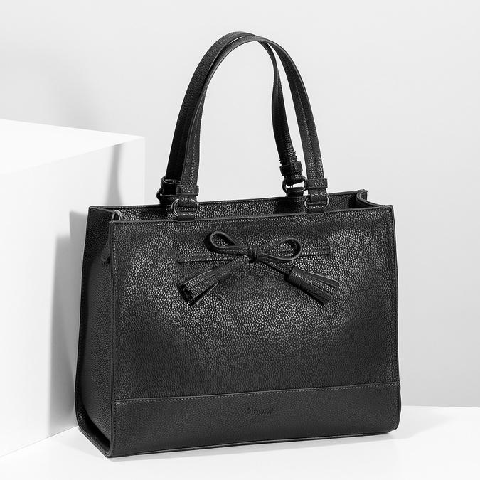 Dámská kabelka s mašlí černá gabor-bags, černá, 961-6037 - 17
