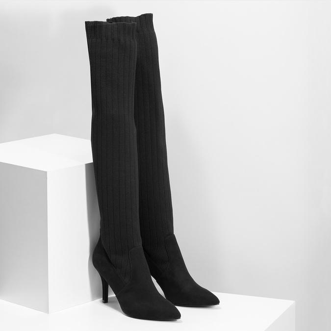 Černé ponožkové kozačky na jehlovém podpatku bata, černá, 799-6639 - 26