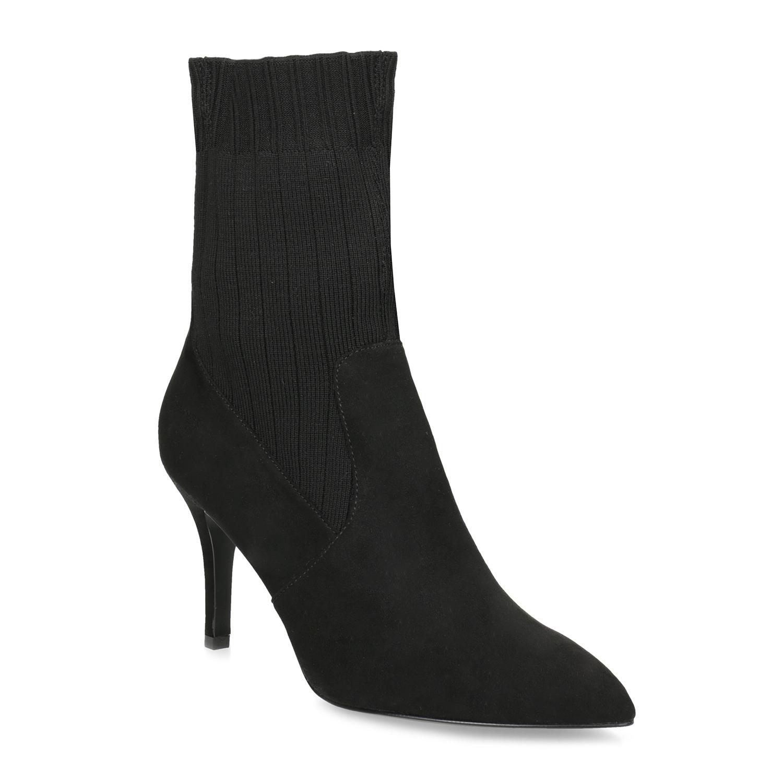 039c57daeb5 Baťa Černé ponožkové kozačky na jehlovém podpatku - Všechny boty ...