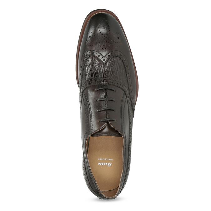 Hnědé kožené polobotky v Oxford stylu bata, hnědá, 826-4785 - 17