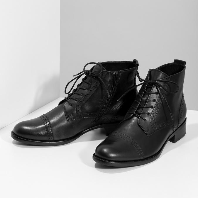 Kotníčková dámská obuv s Brogue zdobením gabor, černá, 624-6031 - 16