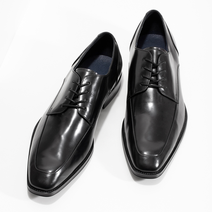 Černé kožené polobotky v Derby stylu bata, černá, 824-6784 - 16