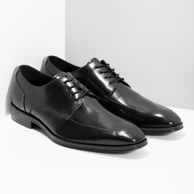 Černé kožené polobotky v Derby stylu bata, černá, 824-6784 - 26