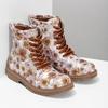 Dětská kotníčková obuv s květinovým vzorem mini-b, hnědá, 321-8620 - 26