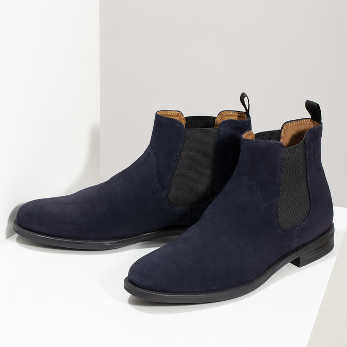 Tmavě modrá kožená pánská Chelsea obuv vagabond, modrá, 813-6153 - 16