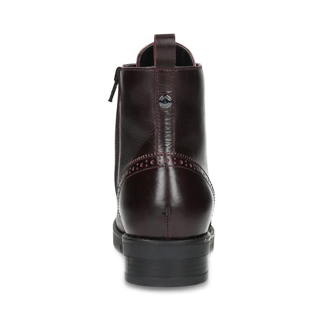 Kožená dámská kotníčková obuv vínová flexible, červená, 596-5695 - 15