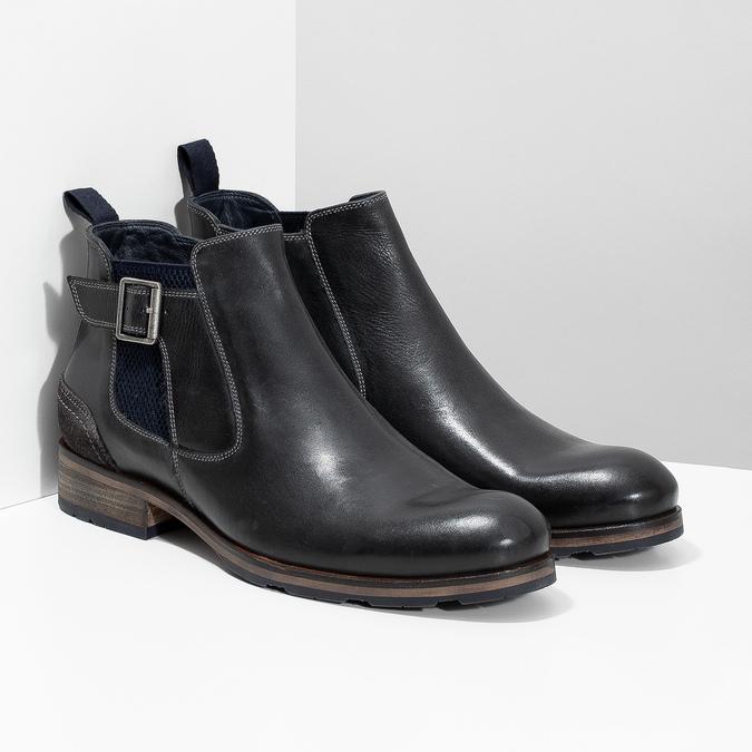 Černá kožená Chelsea obuv s přezkou bata, černá, 826-6781 - 26