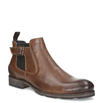 Hnědá kožená kotníčková obuv s přezkou bata, hnědá, 826-4781 - 13