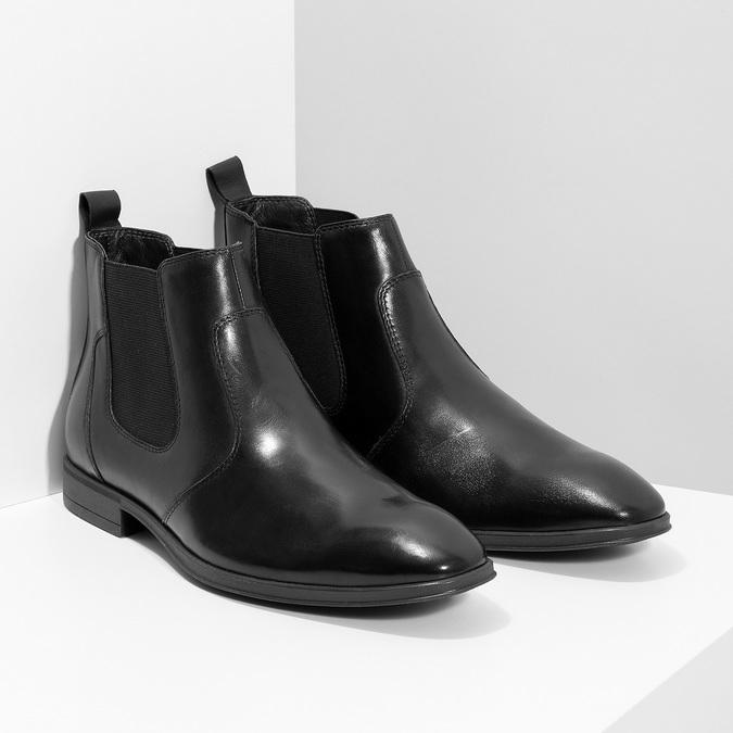 Kožená pánská kotníčková Chelsea obuv bata, černá, 824-6890 - 26