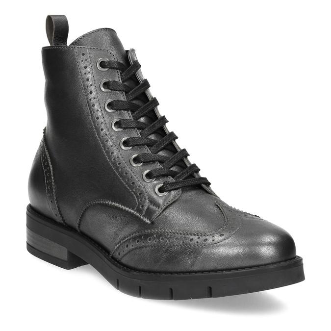 Dámská kotníčková obuv kožená metalická flexible, stříbrná, 596-6695 - 13