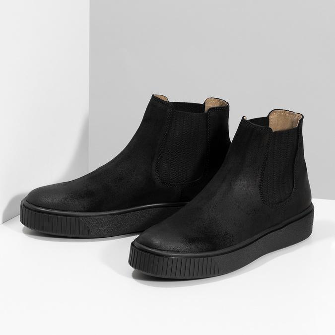 Kotníčková kožená dámská Chelsea obuv bata, černá, 596-6713 - 16