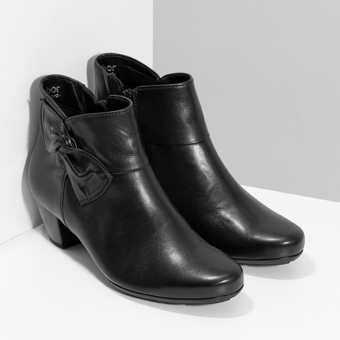 Černé kožené kotníčkové kozačky s mašlí gabor, černá, 614-6005 - 26