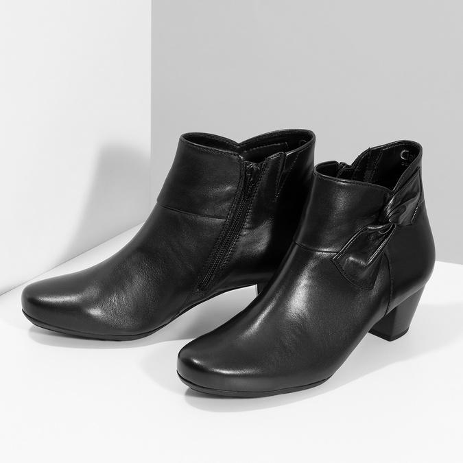 Černé kožené kotníčkové kozačky s mašlí gabor, černá, 614-6005 - 16