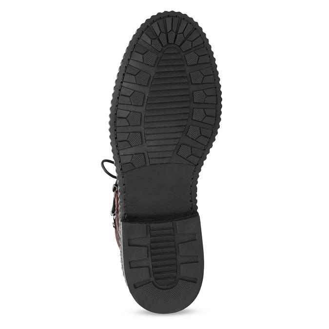 Vínová kožená kotníčková obuv se šněrováním bata, červená, 596-5719 - 18