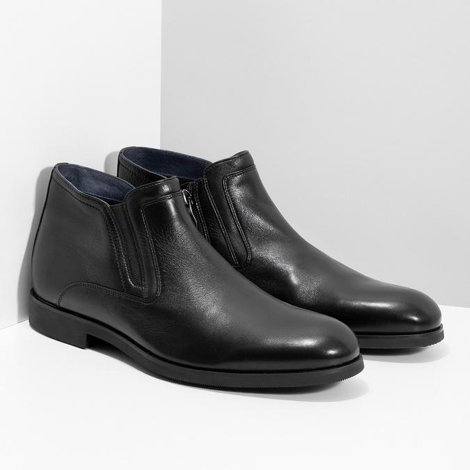 Kožená kotníčková pánská obuv s prošitím bata, černá, 824-6621 - 26