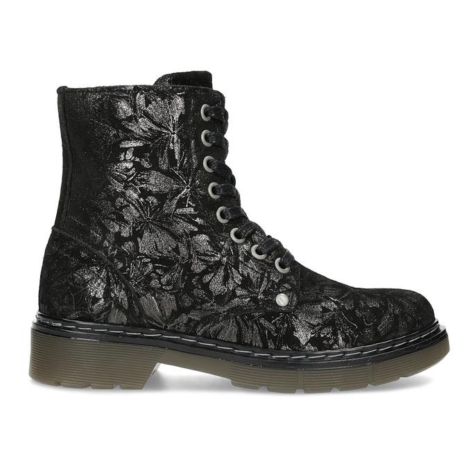 Dětská kožená kotníčková obuv se vzorem mini-b, černá, 426-2560 - 19