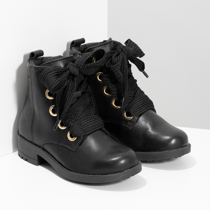 Kožená kotníčková dětská obuv mini-b, černá, 424-6600 - 26