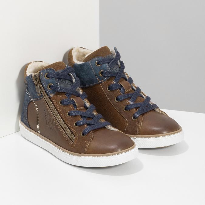 Hnědá kožená dětská kotníčková obuv mini-b, hnědá, 414-3602 - 26