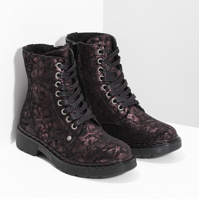 Kotníčková kožená dětská obuv se vzorem mini-b, hnědá, 426-4560 - 26